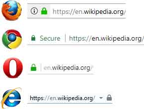How three browsers display secure (HTTPS) sites