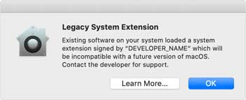 Catalina warning about the end of support for legacy extensions.