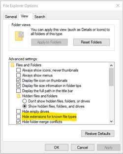"""Show hidden files, folders and drives"" dialogue box."