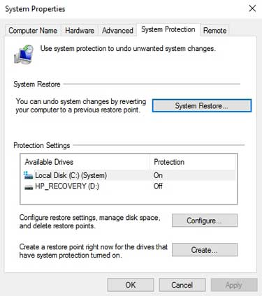 Screen capture showing the Windows 10 System Properties dialogue box