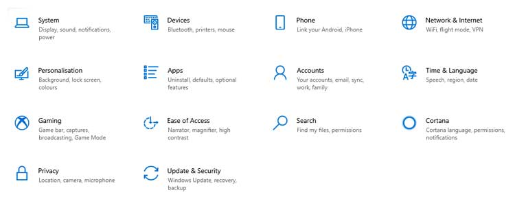 Screen capture showing the Windows 10 Settings