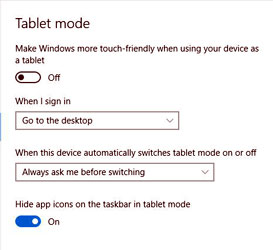 Screen capture showing the Windows 10 Tablet Settings